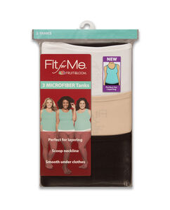 Fit for Me by Fruit of the Loom Women's 3 Pack Assorted Microfiber Tank