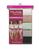 Fit for Me by Fruit of the Loom Women's 5 Pack Microfiber Hi Cut Assorted