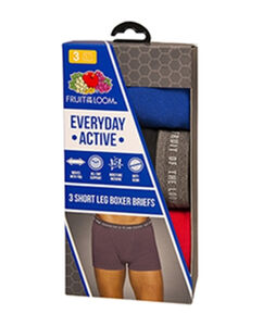 Men's 3 Pack Everyday Active Short Leg Assorted Color Boxer Brief