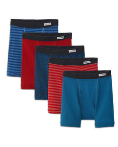 Boys' 5 Pack Covered Waistband Short Leg Boxer Brief