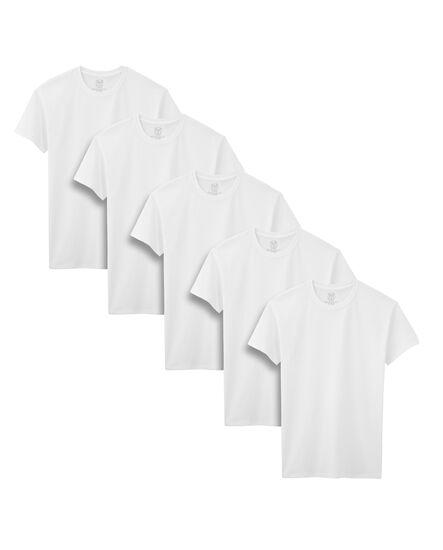Boys' 5 Pack White Crews White