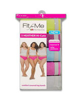Fit for Me by Fruit of the Loom Women's 5 Pack Heather Hicuts Assorted Heathers