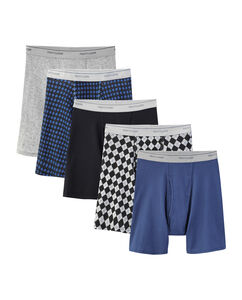 Men's 5 Pack Fashion Print Solid Boxer Briefs