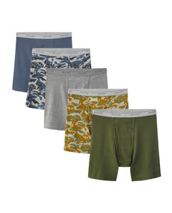 Men's 5 Pack Print Solid Boxer Briefs