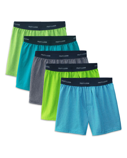 Boys' 5 Pack Exposed Waistband Assorted Colors Knit Boxer Assorted