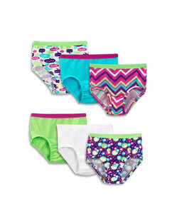Fruit of the Loom Girls' 6-pack Assorted Cotton Brief - Small Pack