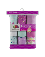 Girls' 9 Pack Assorted Color Hipster Assorted Print and Color