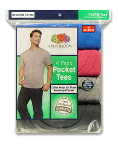 Men's 4 Pack Assorted Colors Pocket Tee