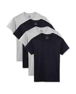 Men's 4 Pack Black and Grey Crews