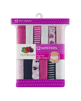 Girls' 12 Pack Color Assorted Hipster Assorted Print and Color