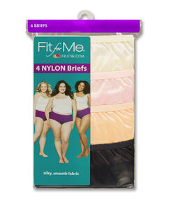 Fit for Me by Fruit of the Loom Women's 5 Pack Nylon Assorted Brief