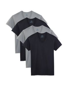 Men's 4 Pack Black and Grey V Necks