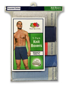 Men's 5 Pack Exposed Waistband Assorted Colors Knit Boxer