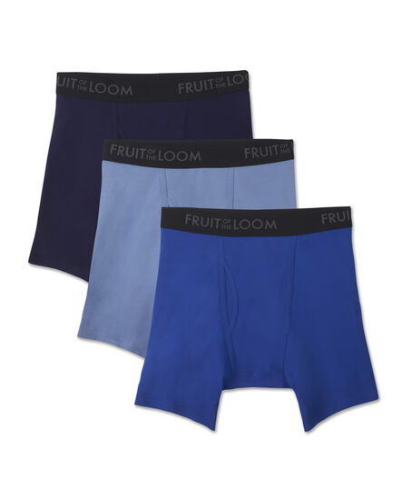 Men's Breathable 3 Pack Assorted Color Boxer Brief Assorted