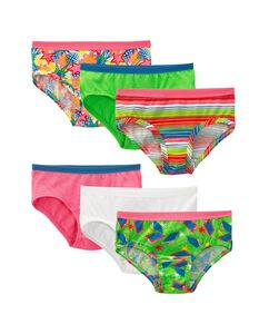 Girls' 6 Pack Assorted Cotton Low Rise Brief