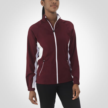Women's Woven Warm Up Jacket MAROON/WHITE