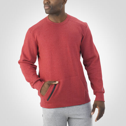 Men's Cotton Rich Fleece Crew Sweatshirt RED HEATHER