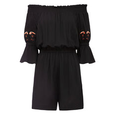 TOUCAN EMBROIDERED SLV PLAYSUIT