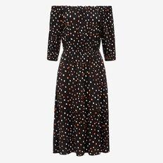 IRREGULAR SPOT OFF SHOULDER DRESS