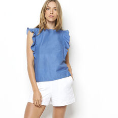I SAY YES CHAMBRAY FRILL TOP