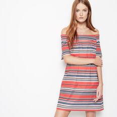 INDIA STRIPE OFF SHOULDER DRESS