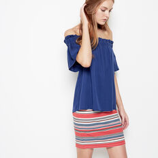 INDIA STRIPE PONTE SKIRT
