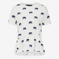 PEPLUM WALKING ELEPHANT TEE