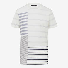 PATCHWORK STRIPE CREW NECK T-SHIRT
