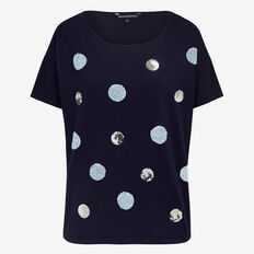 FLUFFY SEQUIN SPOT TEE