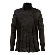 Woven Front Roll Neck Top