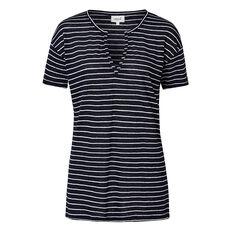 Linen Stripe V Tee