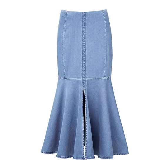 Fishtail Denim Skirt