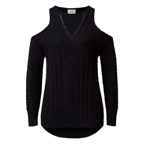 Cold Shoulder Cable Knit