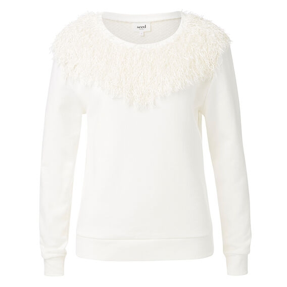 Fringed Yoke Sweater