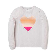 Striped Heart LS Tee
