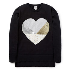Sequin Heart Panel Knit