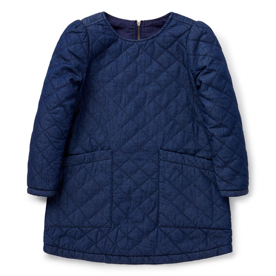 Quilted Chambray Dress