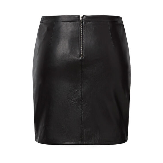 Collection Leather Wrap Skirt
