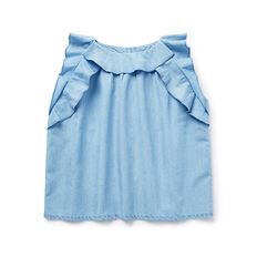 Ruffle Chambray Top