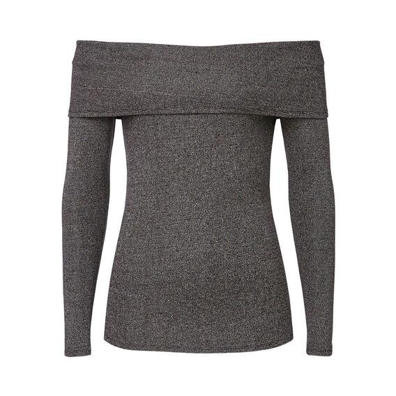 Off Shoulder Mix Sweater