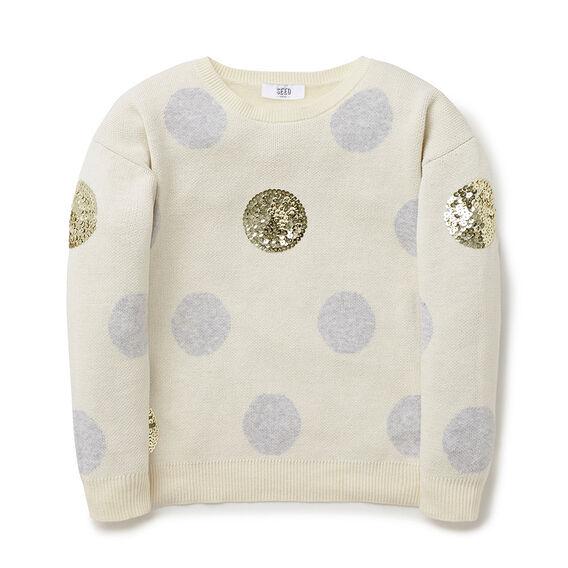 Intarsia Spot Sweater