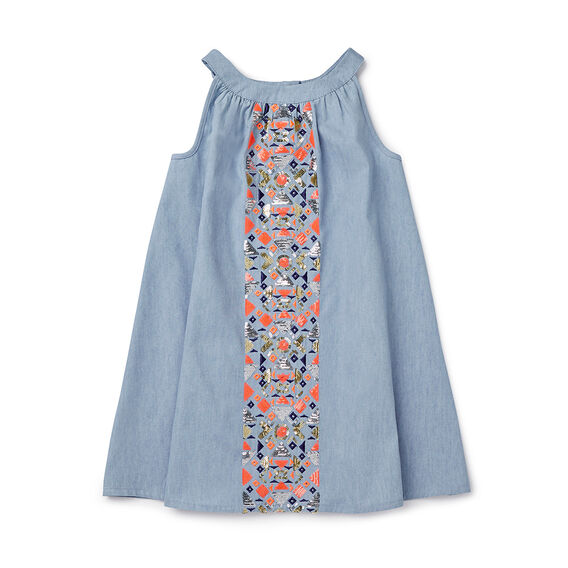 Folk Sequin Chambray Dress