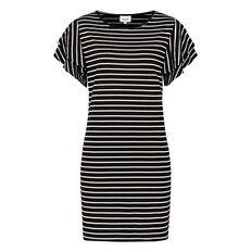 Stripe Frill Sleeve Tee Dress