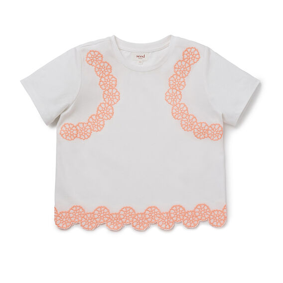 Embroidered Floral SS Tee