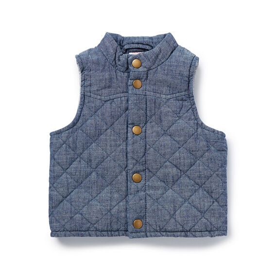 Quilted Chambray Vest