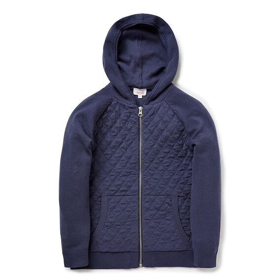 Zip Up Quilted Hoodie