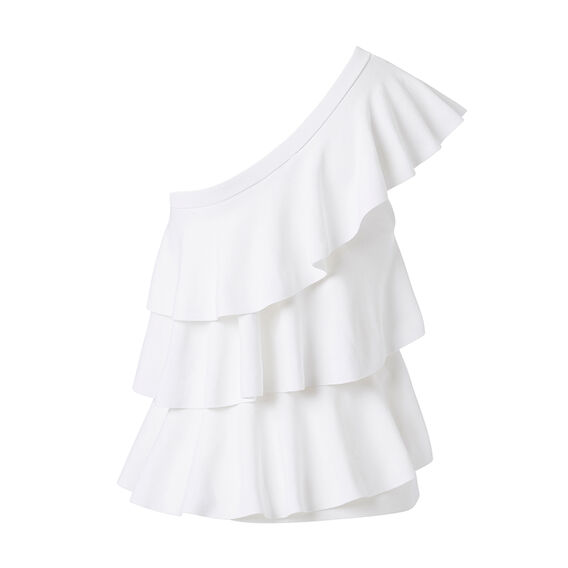 One Shoulder Crepe Frill Top