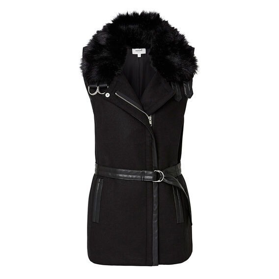 Faux Fur Trim Biker Vest