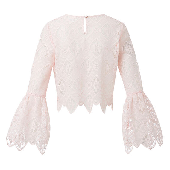 Lace Crop Bell Sleeve Top