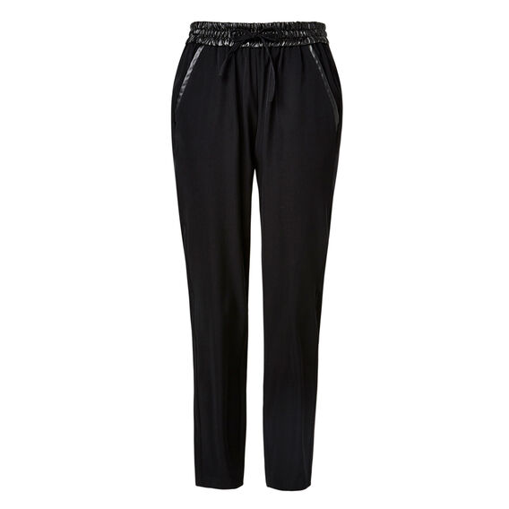 Leather Effect Trim Pant